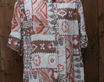 Oversized White Shirt with Aztec Print