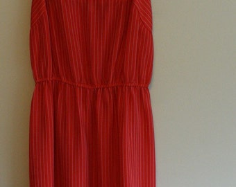 SALE Red and white pinstripe chiffon mid length vintage dress white flower embroidery cinched waist