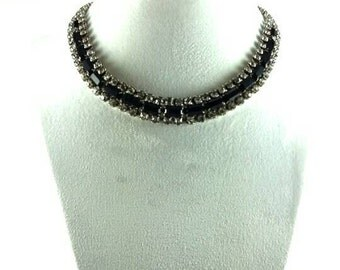 Vintage Art Deco 1930's Jet and Clear Rhinestone Choker Necklace