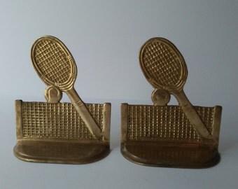 Tennis Racket Bookends Solid Brass Racket Bookends Gold Bookends Vintage Bookends