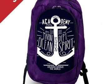 SALE 20% OFF Anchor print backpack Navy backpack Marine backpack Mens backpack Travel backpack canvas Backpack laptop Large backpack