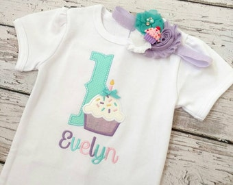 Birthday headband - cupcake headband - Birthday hair bow - Cupcake birthday outfit - purple teal and white headband - glitter headband