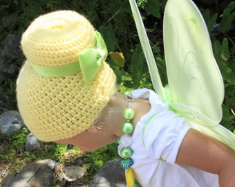 Fairy costume - fairy hat - fairy wig - Tinker Bell Costume- Tinkerbell Wig- Tinkerbell Hat - Tinkerbell outfit