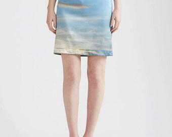 Blue Skies Stretch Silk Pencil Skirt