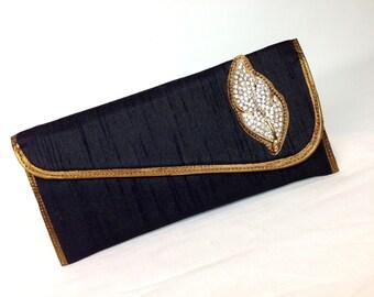 Black Silk evening clutch with Swarowski , Black evening clutch , womens evening clutch silk diamante clutch , wardrobe must have