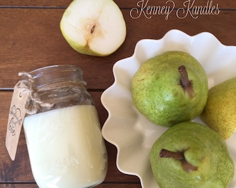 Brandied Pear - Kenney Kandles - Mason jar scented soy candle - Burns clean 80+ hours