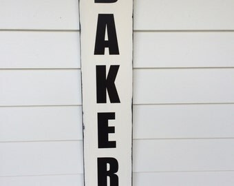 """Bakery sign handmade and hand painted, measures apprx. 5.5"""" x 38"""" vertical, Great piece for your kitchen! Similar to the one on Fixer Upper!"""