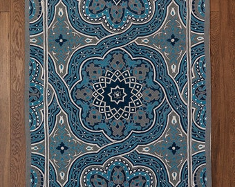 Mandala rug,turquoise area rug,4x6 area rugs,royal blue rug,5x8 area rugs,affordable area rugs,oriental rugs for sale,FREE SHIPPING!