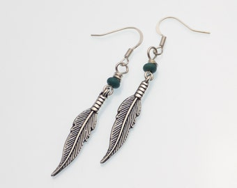Silver Feather and Turquoise Earrings | Handmade Earrings | Trendy Silver Earrings | Feather Trend | Feather Jewelry | Feather Earrings
