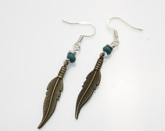 Bronze Feather and Turquoise Earrings | Handmade Earrings | Bronze Jewelry | Feather Jewelry | Feather Trend | Feather Earrings | Feathers