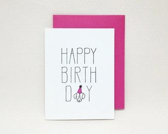 Happy Birthday Card // Letterpress dog lover birthday card, birthday card from dog, letterpress dog card, letterpress birthday card