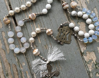 White Bohemian Gemstone Rosary Hand Knotted with Bronze Crucifix and Center by SeeJanesBeads
