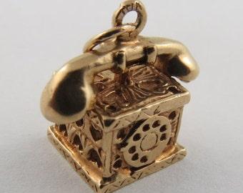 Rotary Dial Telephone- Heart Box 14K Gold Vintage Charm For Bracelet