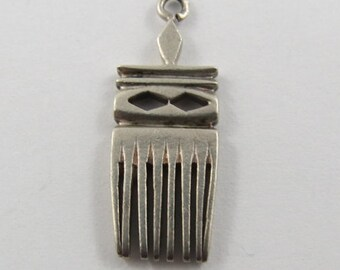 Hair Pick Sterling Silver Vintage Charm For Bracelet