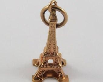 Eiffel Tower 18K Gold Vintage Charm For Bracelet