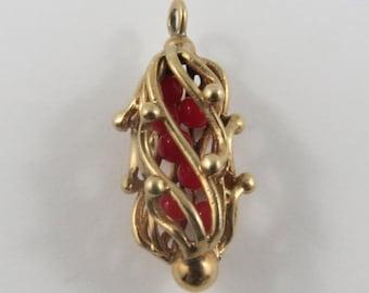 Ornate Cage Filled With Red Balls 10K Mechanical Gold Vintage Charm For Bracelet