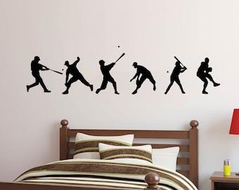Baseball Players Shapes Set Wall Decal