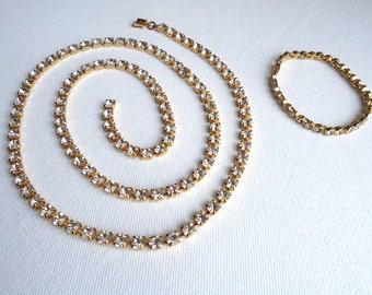 Long Rhinestone Lariat Necklace and Rhinestone Bracelet - Vintage Set