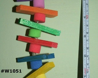 "Bird Toy, Rainbow, Wood Chew, 6""  Small Parrots, Colored, Wood blocks, Sponge Beads, Budgie, Parakeet, Cockatiel, Pionus, Conure, Parrotlet"