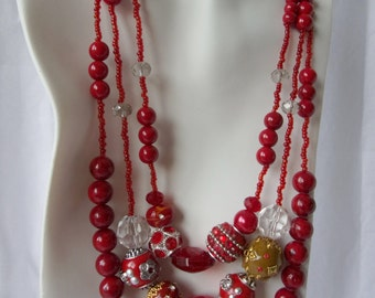 Ruby Red Three Strand Necklace Set