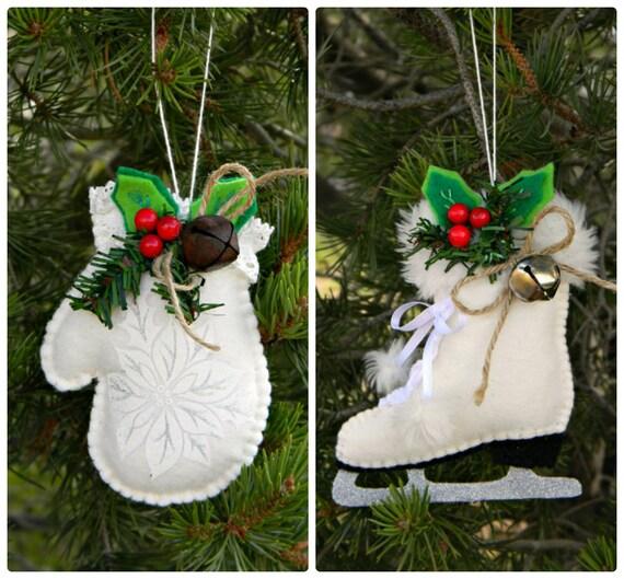 Mitten Christmas Ornament Ice Skate Figure Skates Decoration