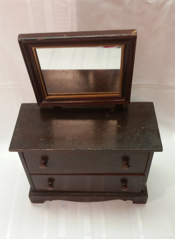Antique 2 Drawer Wood Dresser Amp Mirror Small Salesman S