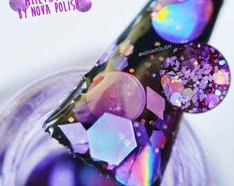 SALE last 5! AMETHYST by NOVA polish - purple jelly, gemstone, glitter polish, indie polish, purple glitter polish, birthstone nail polish