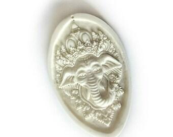 Stunning Hand-Carved Ganesh Bone Pendant