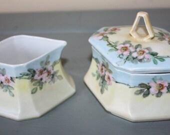 Lovely Floral Porcelain Creamer and Sugar Bowl Set, M Z Austria
