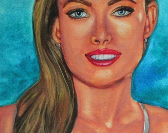 Olivia Wild portrait in watercolor