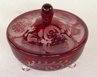 Bohemian Egermann Ruby Red Candy Dish, cut-to-clear