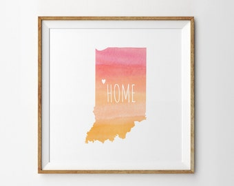 State Indiana & Home Town Watercolor Map Print - Custom / Personalized Art Print