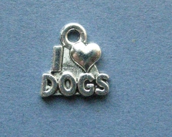 10 I Love Dogs Charms - I Love Dogs Pendant - Animal Charm - Animal - Dog Charm - I Love Dogs - Antique Silver - 14mm x 13mm -- (P4-11170)
