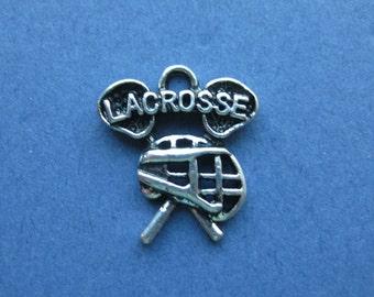 5 Lacrosse Charms - Lacrosse Pendants - Sports Charm - Lacrosse - Antique Silver - 19mm x 16mm  -- (No.132-10660)