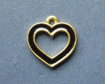 6 Black Heart Charms - Heart Pendants - Heart Charm - Heart - Love - Bright Gold - 14mm x 14mm -- (L2-10883)