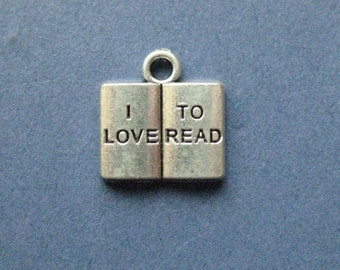 5 I Love To Read Charms - I Love To Read Pendants - I Love To Read - Studying Charm - Antique Silver - 13mm x 14mm -- (H5-10920)