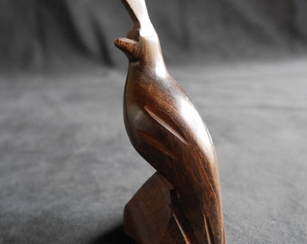 Vintage Small Carved Ironwood Bird Sculpture, Quail Statue, Figurine, Gift for Bird Lover, Mid-Century Modern Sleek, Dark Brown