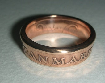 Denmark 1 Krone Coin Ring in Size 8