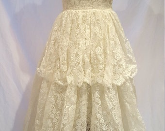 1950's Ivory Lace Tiered Wedding Dress Off the Shoulder Handmade w/ Gauntlets and Veil