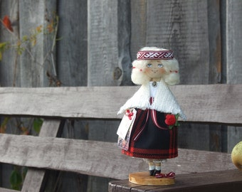 Textile handmade doll Ilga, cloth, art doll in national costume of Latvia, 7.3 inches, red, white, black, little doll