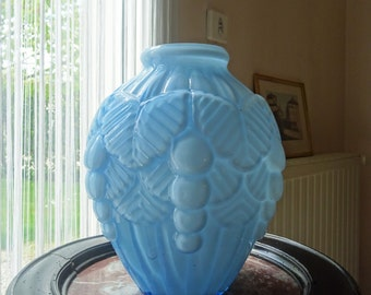 Antique french vase Art Deco opaline blue 1930 s/illuminati10