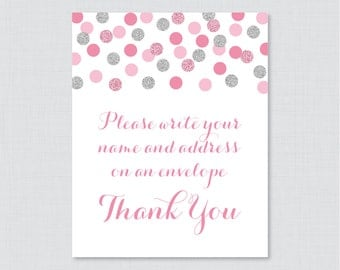 "Pink and Silver Address an Envelope Sign - Printable Download - Glitter ""Please Write Your Name and Address on an Envelope"" Sign - 0001-S"