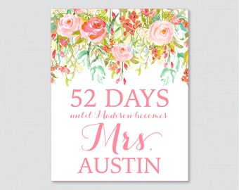Days Until Mrs Floral Bridal Shower Sign Printable - Pink Flowers Bridal Shower Days Until Wedding Sign - Shabby Chic Garden Bridal 0004