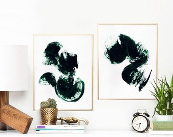 "Minimalist Set of 2 Prints, Abstract Watercolor Art Print, Printable Art Set, Brush Strokes Wall Art, 11""x14""x2pcs. Dark Green."