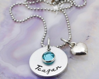Hand Stamped Girls Necklace - Personalized Jewelry - Hand Stamped Jewelry - Personalized Necklace - Name Necklace - Valentines Day Gift
