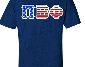 Pi Beta Phi Greek Letter American Flag Tee