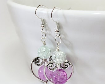 Purple Heart Earrings Antique Style Earrings Love Heart Earrings Bridesmaid Gift Mother of the Bride Gift Drop Earrings Wedding Earrings
