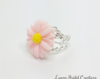 Pink Daisy Ring Pink Sunflower Ring Adjustable Ring Pink Bridesmaid Pink Wedding Gift Flower Girl Gift Pink Spring Wedding Pretty Pink Ring