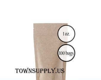 100 - 1 oz Kraft stand up pouches, food safe packaging supply, small resealable zip bags, recloseable ziplock, foil lined tea or coffee bags
