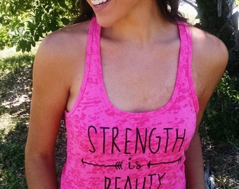 Strength is Beauty fitness racerback tank top in multiple colors